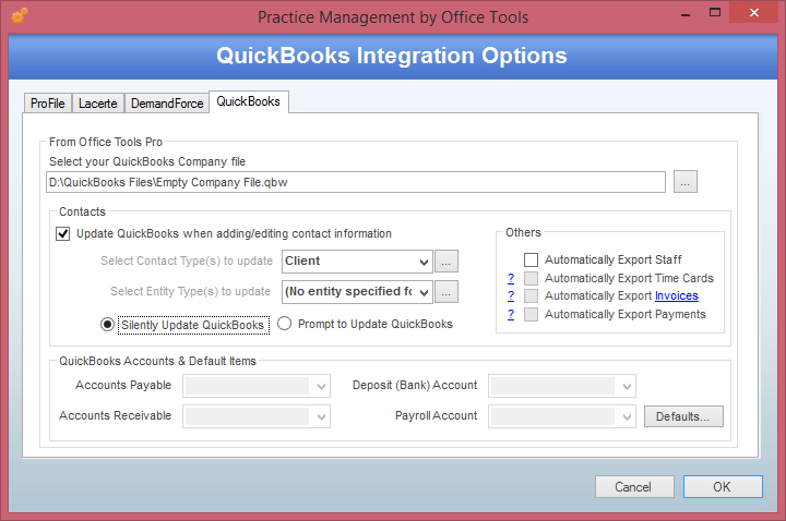 Selecting your QuickBooks Company File
