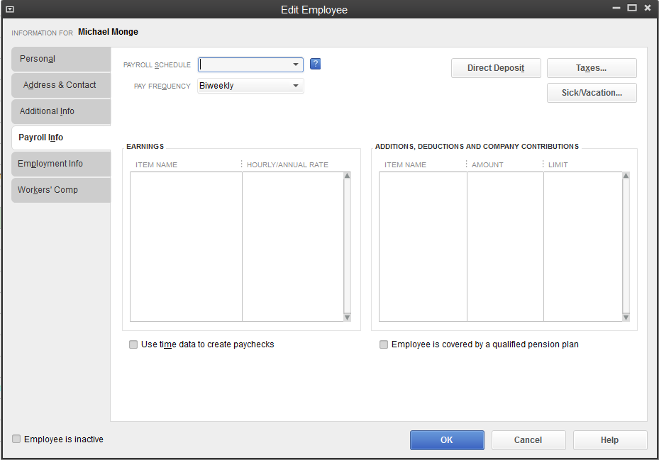 QB Create Time Data