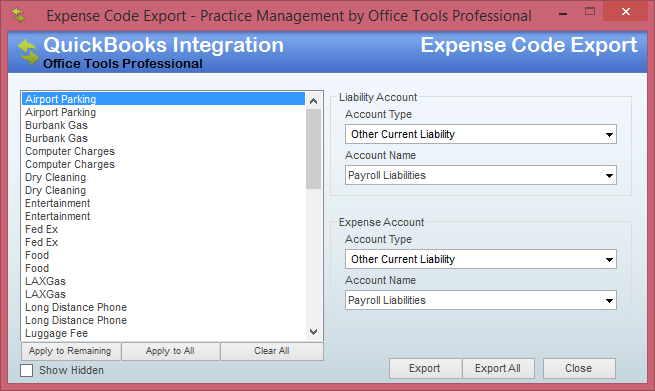 expense code export