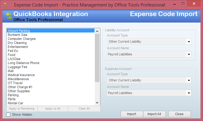 expense code import