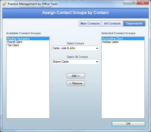 Contact Groups By Contact