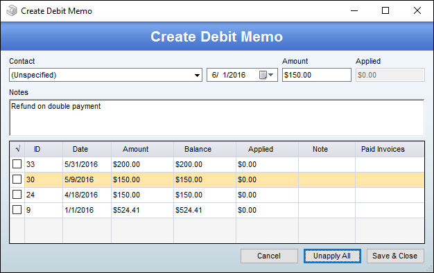 debit memos are very simple the fields available to you are contact date amount and notes