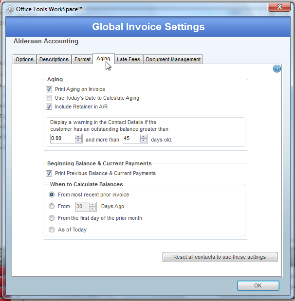 global invoicing options - aging tab