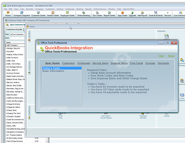OfficeTools WorkSpace QuickBooks integration